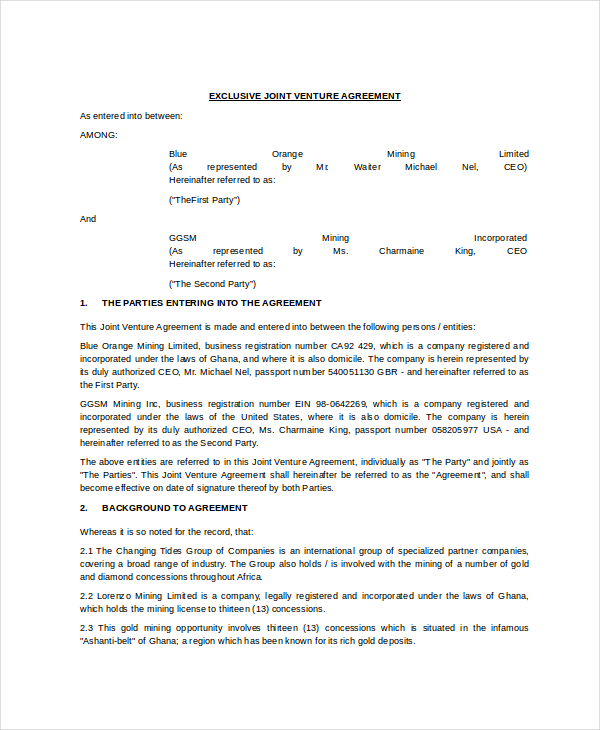 company-contract-exclusive-joint-venture-agreement-template-in-word