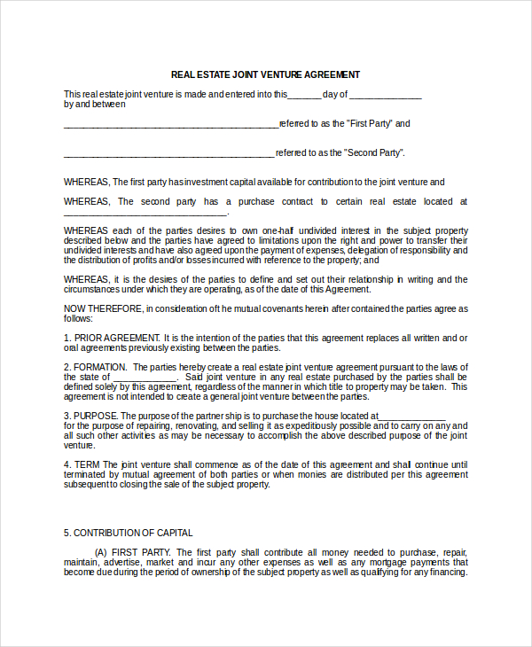 company-contract-real-estate-joint-venture-agreement-sample