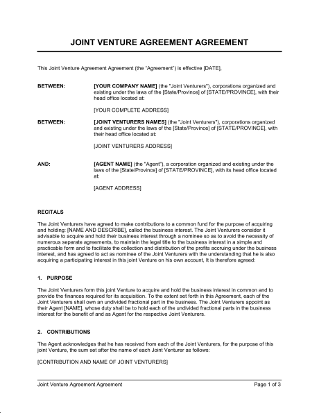 Contract Legal Sample Join Venture Agreement Template  Basic Contract Outline