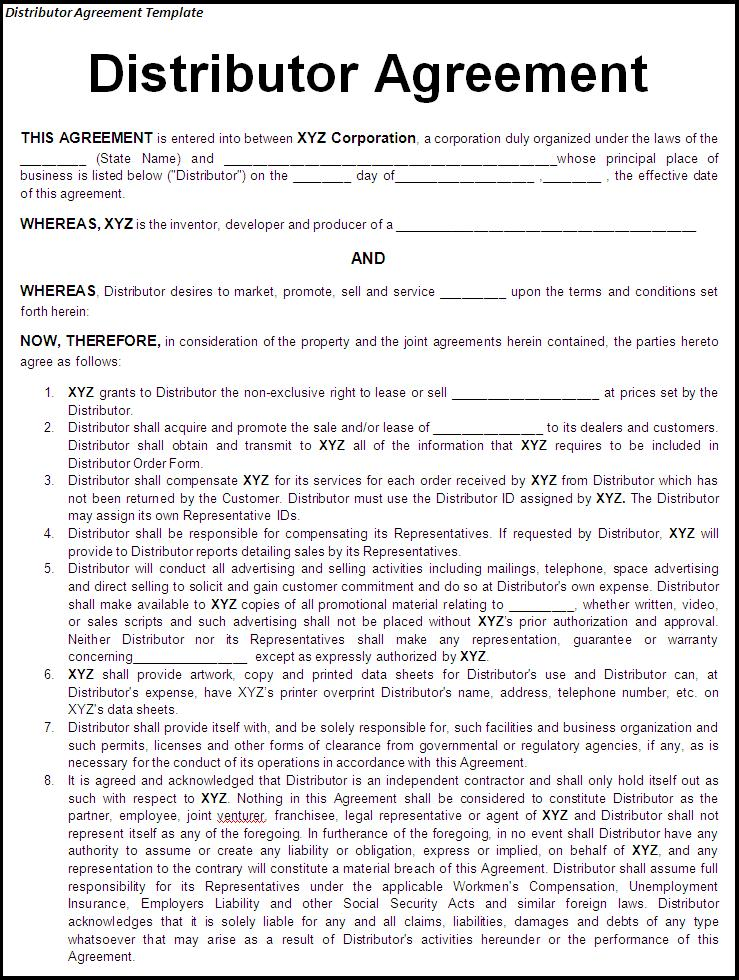 Distributor Contract Agreement Template  Contract Templates