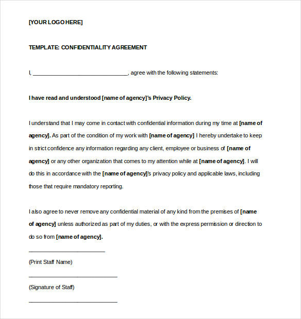 20 Printable Confidentiality Agreement Templates:  Contract Templates For Word