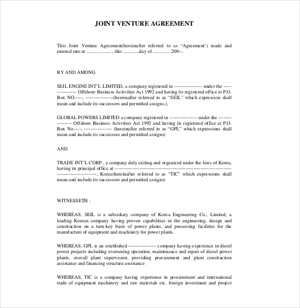 jv agreement contract templates