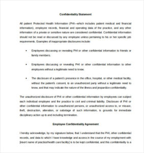 Printable Contract Standard Confidentiality Agreement For Employees Doc  Printable Confidentiality Agreement