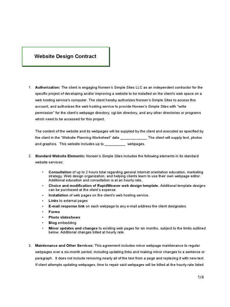 Lovely Basic Website Contracts Contract Templates Website Design Contract Templates  Pdf Doc Basic Website Contracts In Basic Contract Outline