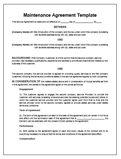 Good Website Support Contract Template Nice Look  Agreement For Services Template