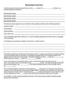 free-printable-Roommate-Contract