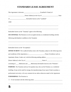 Standard-Residential-Lease-Agreement-Form-Rental Agreement Template