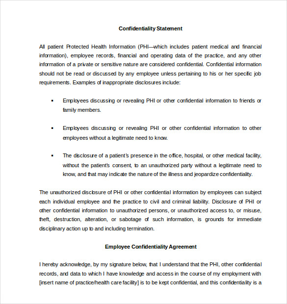 20 Printable Confidentiality Agreement Contract Templates